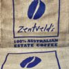 Zentveld logo hessian 20kg coffee bag shows 2 here.
